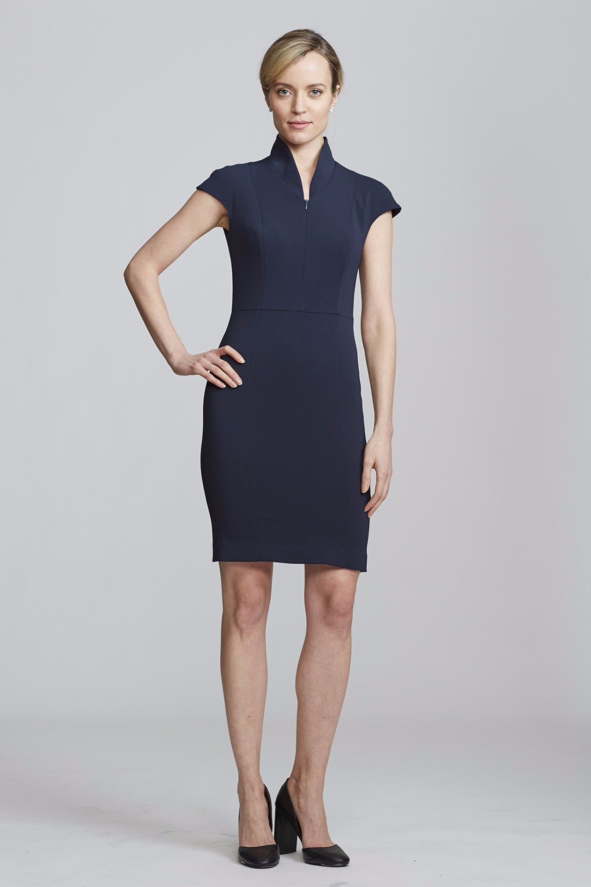 Front Women's Evelyn Dress in Navy | Nora Gardner