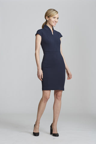 Side Women's Evelyn Dress in Navy | Nora Gardner