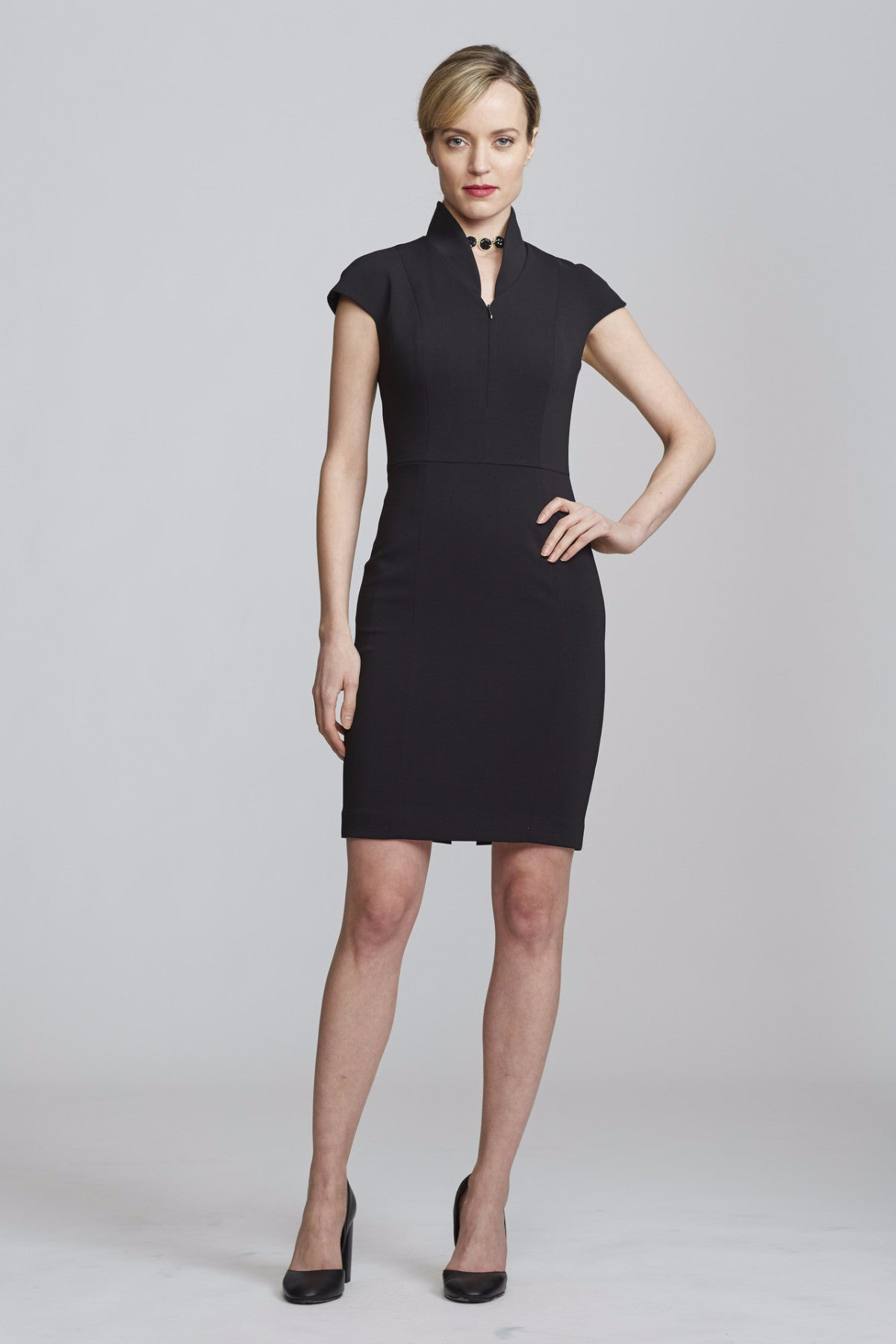 Front Women's Evelyn Dress in Black | Nora Gardner