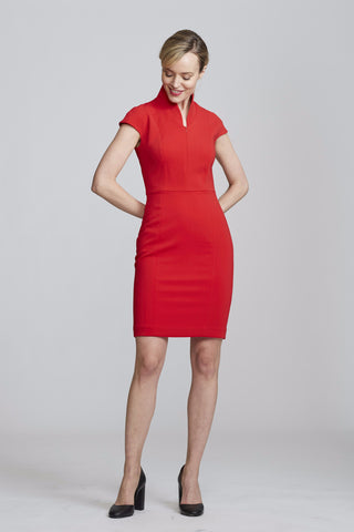 Front Women's Evelyn Dress in Power Red | Nora Gardner