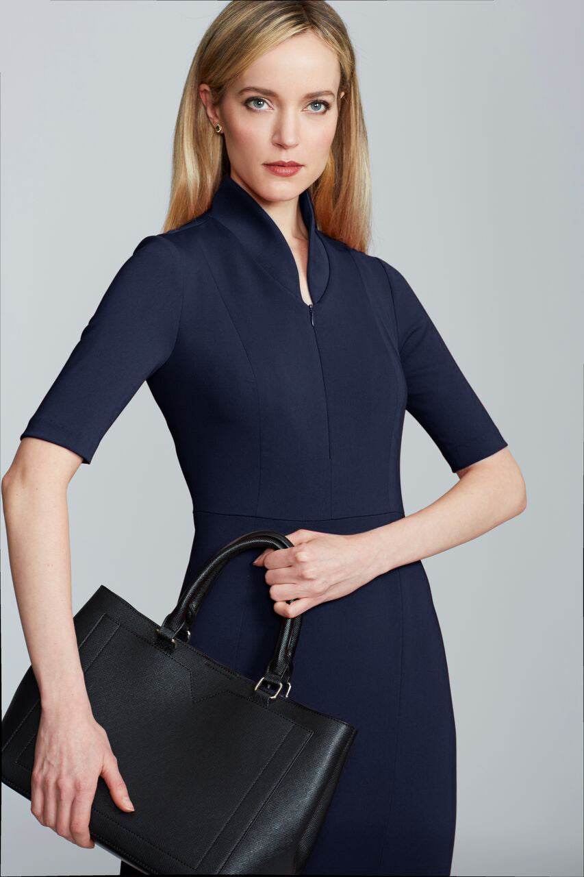 Women's Sleeved Evelyn Dress in Navy | Nora Gardner Detail