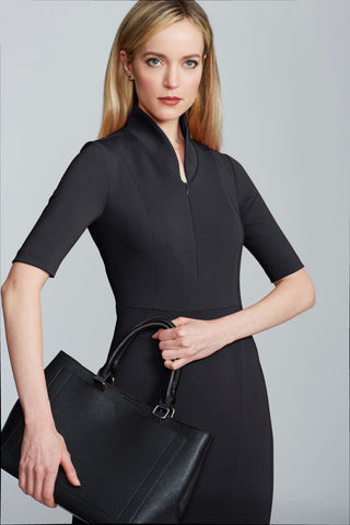 Women's Sleeved Evelyn Dress in Black | Nora Gardner Detail