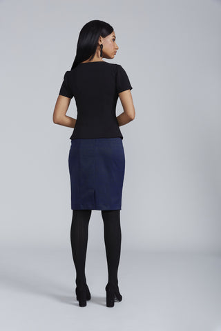 Women's Chelsea Skirt in Navy Jacquard | Nora Gardner - Back