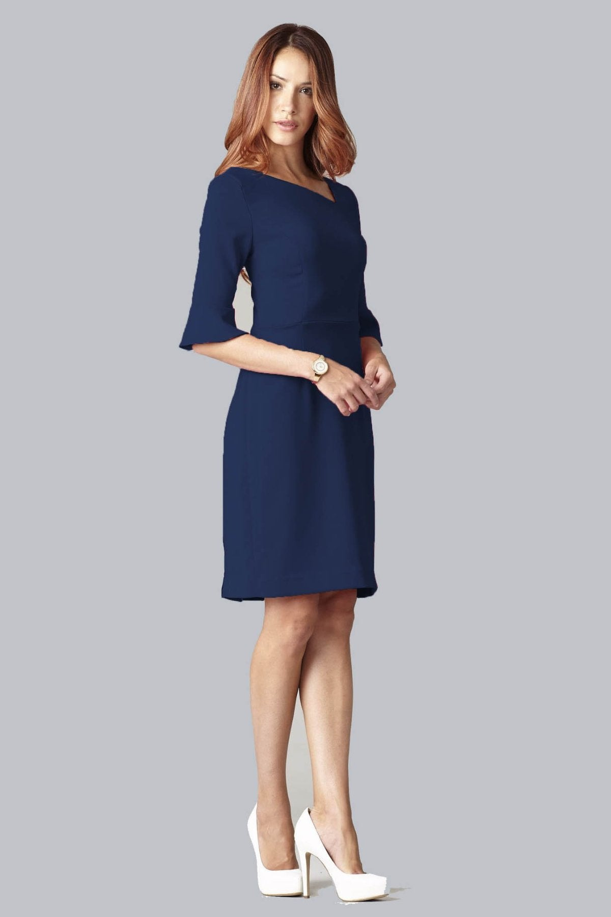 Kate Bell Sleeve Dress - Navy