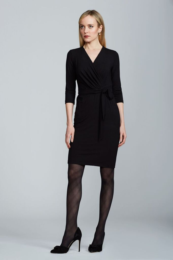 Women's Leyla Wrap Dress in Black | Nora Gardner Front