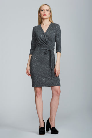 Leyla Wrap Dress - Grey Print