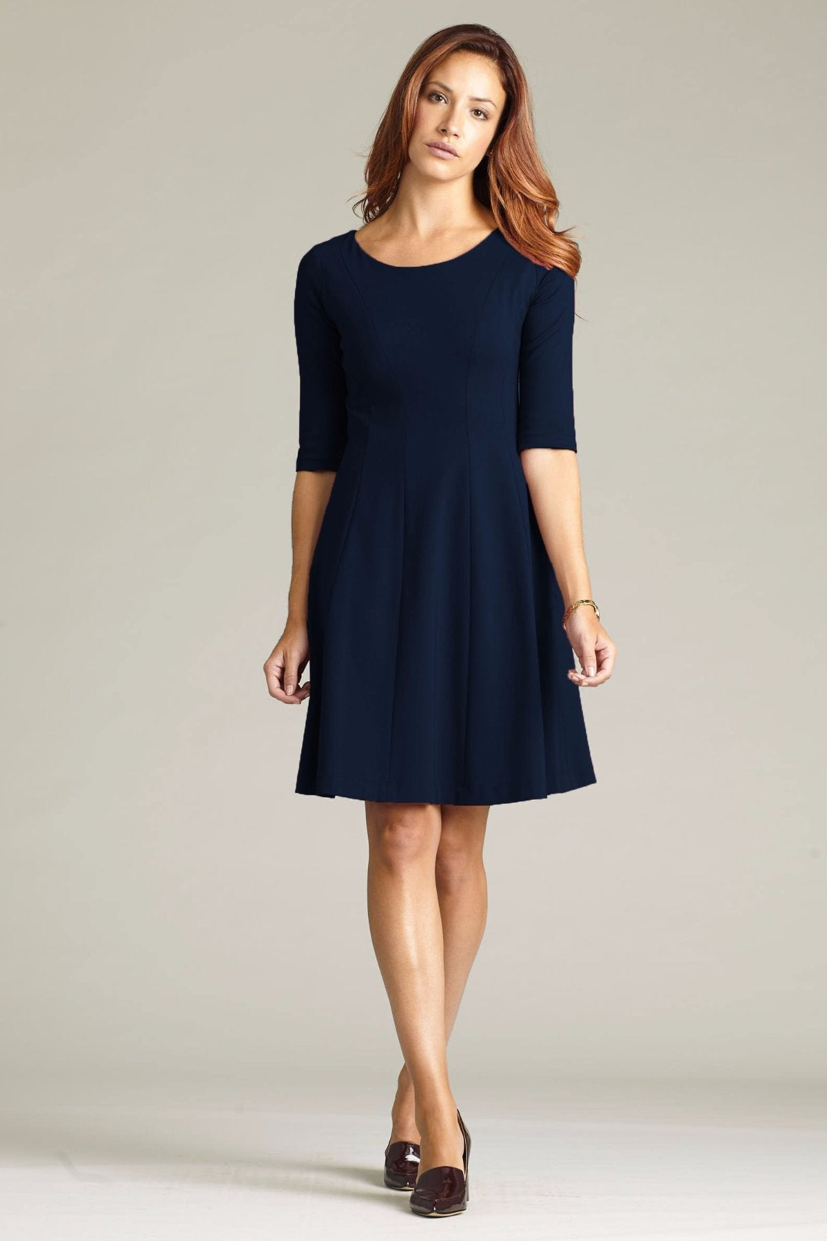 Women's Lizette Dress in Navy | Nora Gardner Front