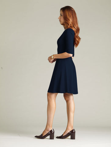 Women's Lizette Dress in Navy | Nora Gardner Side