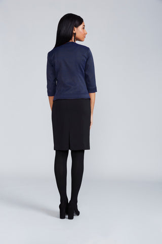 Quincey Jacket - Navy Jacquard
