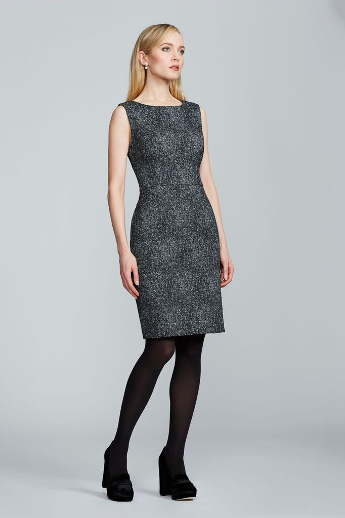 Women's Olympia Dress in Black and White Tweed | Nora Gardner Front