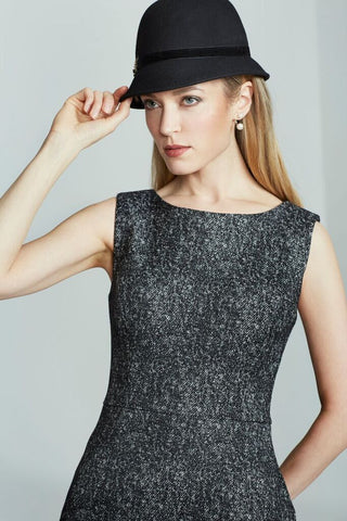 Women's Olympia Dress in Black and White Tweed | Nora Gardner Detail