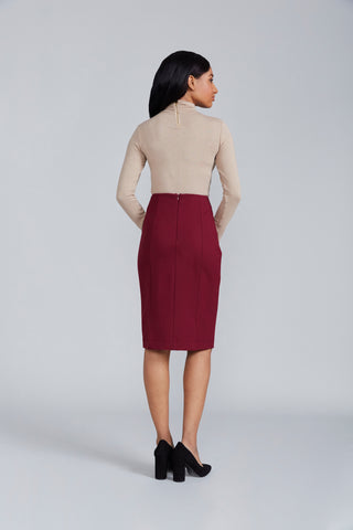 Women's Sanvito Skirt in Burgundy | Nora Gardner Back