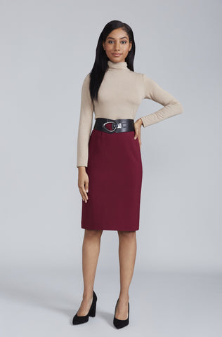 Women's Sanvito Skirt in Burgundy | Nora Gardner Front