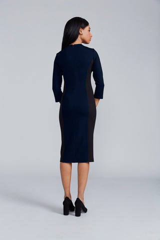 Victoria Dress - Navy/Black