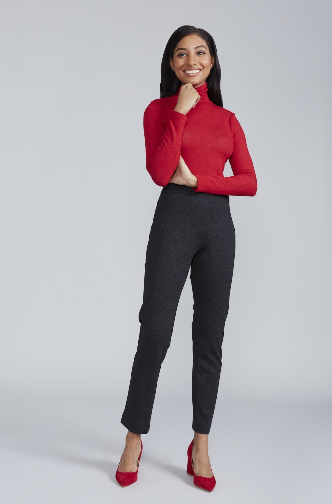 Women's Rosemary Turtleneck in Bittersweet Red | Nora Gardner Front