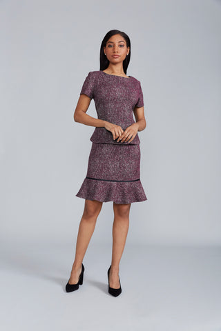 Gracie Skirt - Merlot Tweed