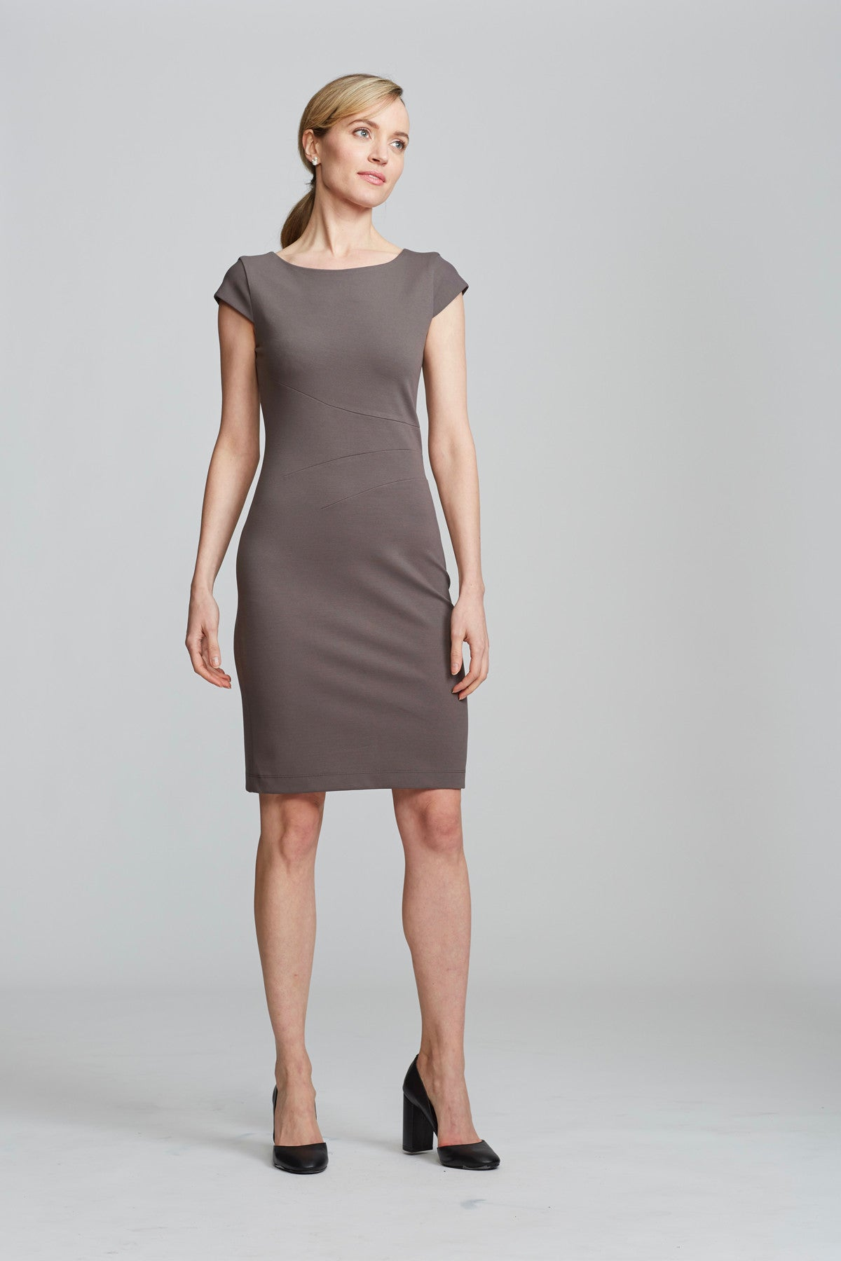 Verana Dress in Slate for Professional Women | Nora Gardner (front)