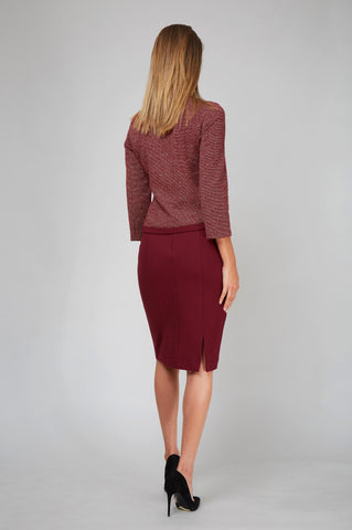 Women's Michelle Jacket in Burgundy Knit | Nora Gardner Back