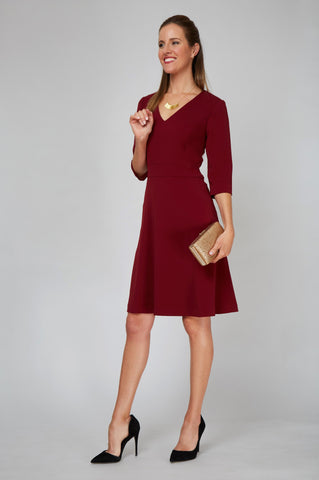 Women's Alexandra Dress In Burgundy | Nora Gardner - Front