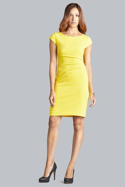 Verana Reverse Crepe Dress - Canary Yellow