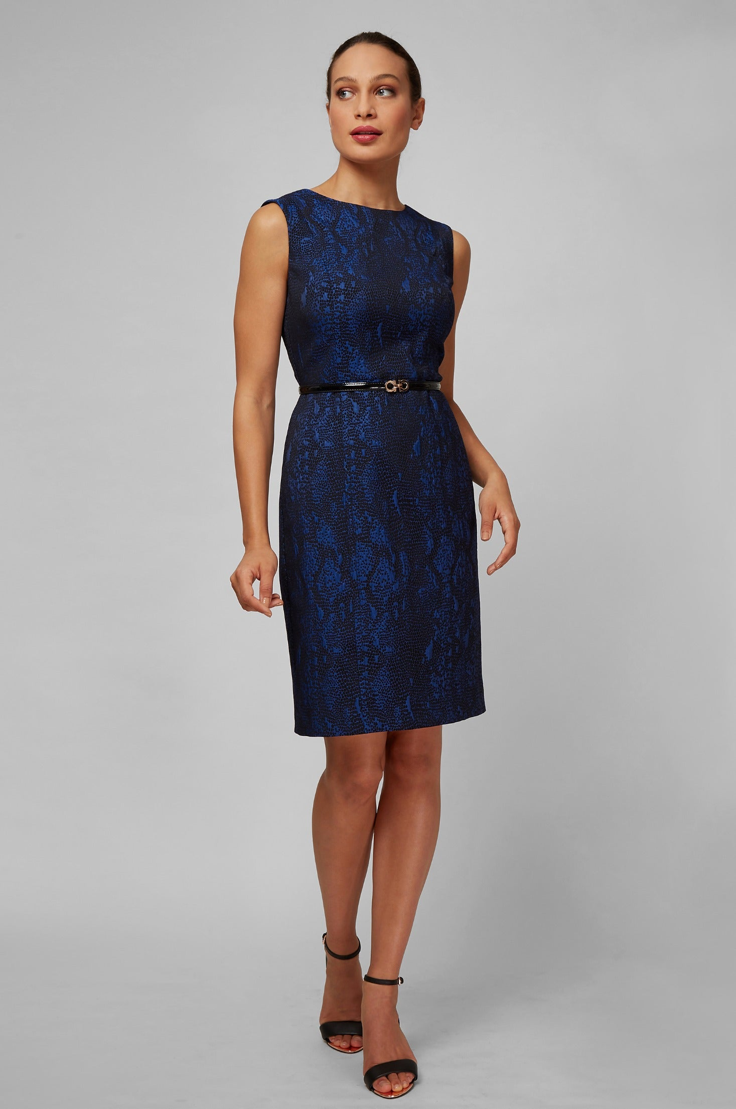 Women's Luna Dress in Blue Viper Jacquard | Nora Gardner Front