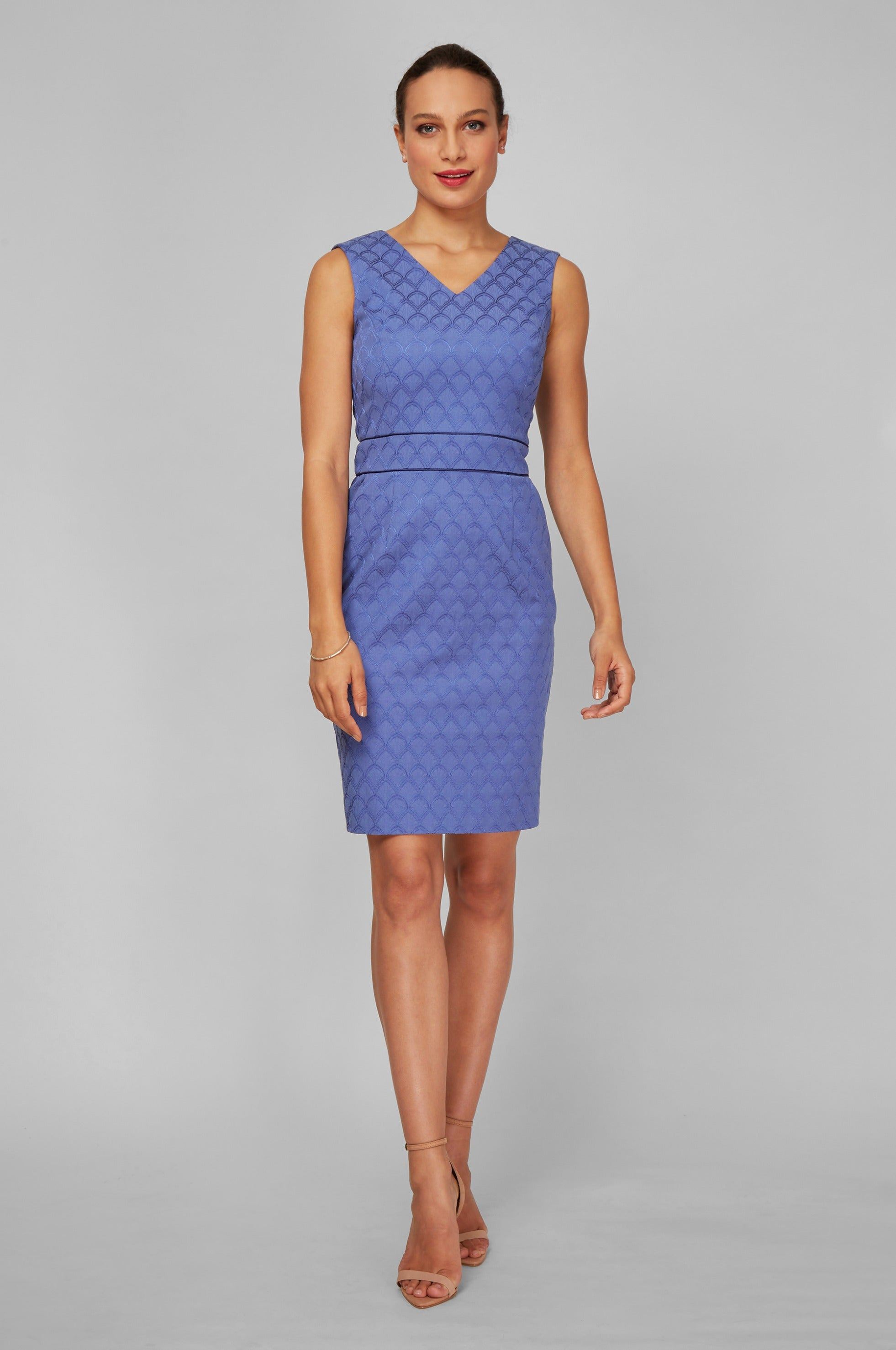 Women's Alyssa Dress In Periwinkle Jacquard | Nora Gardner - Front