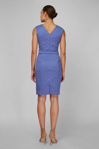 Women's Alyssa Dress In Periwinkle Jacquard | Nora Gardner - Back