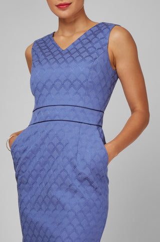 Women's Alyssa Dress In Periwinkle Jacquard | Nora Gardner - Pocket