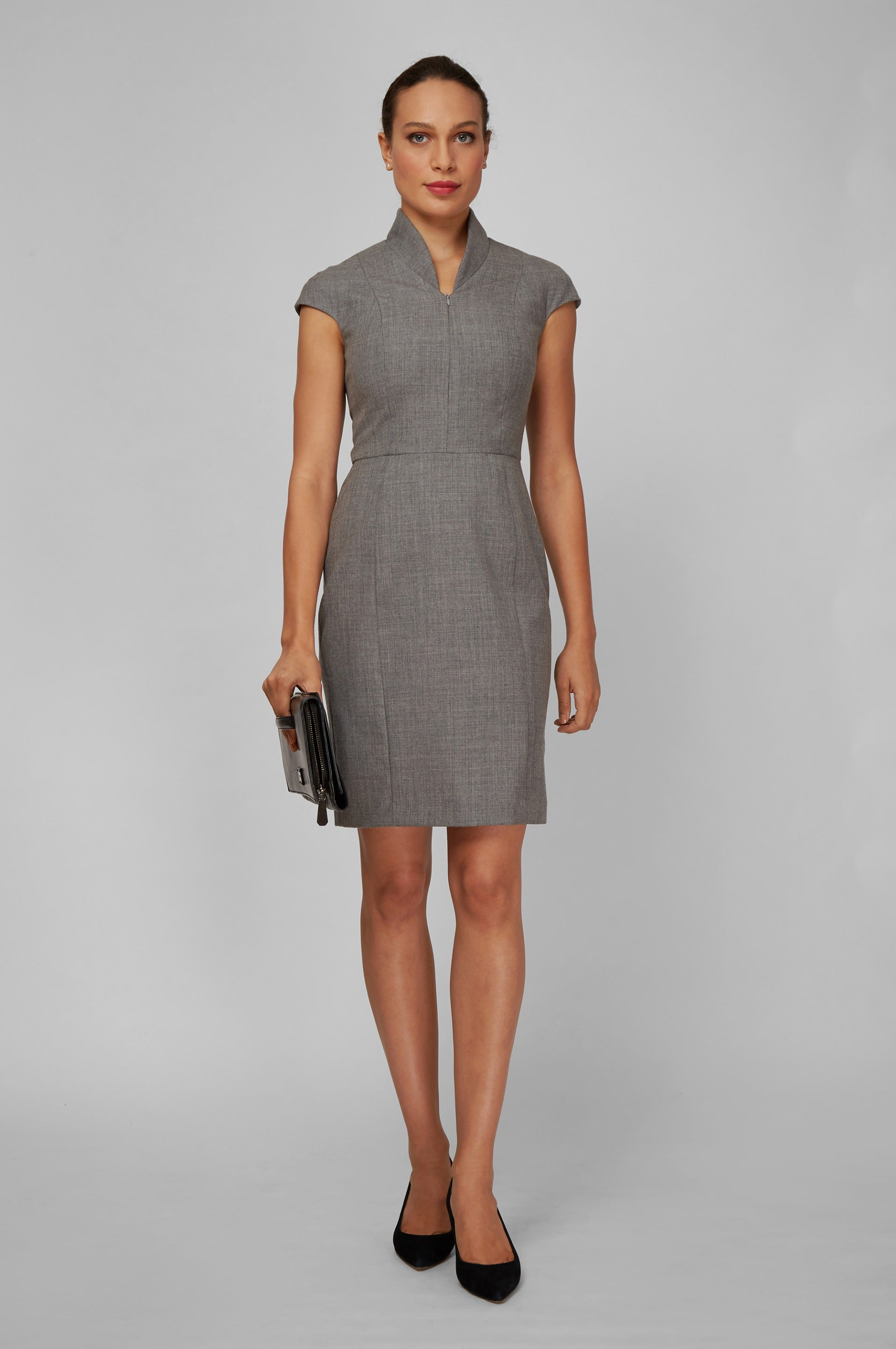 Front Women's Work Dress Evelyn in Light Grey | Nora Gardner