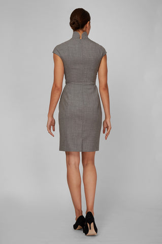 Evelyn Dress - Light Grey Wool