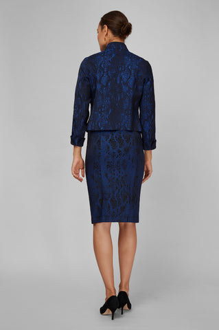 Women's Portia Jacket in Blue Viper Jacquard | Nora Gardner Back