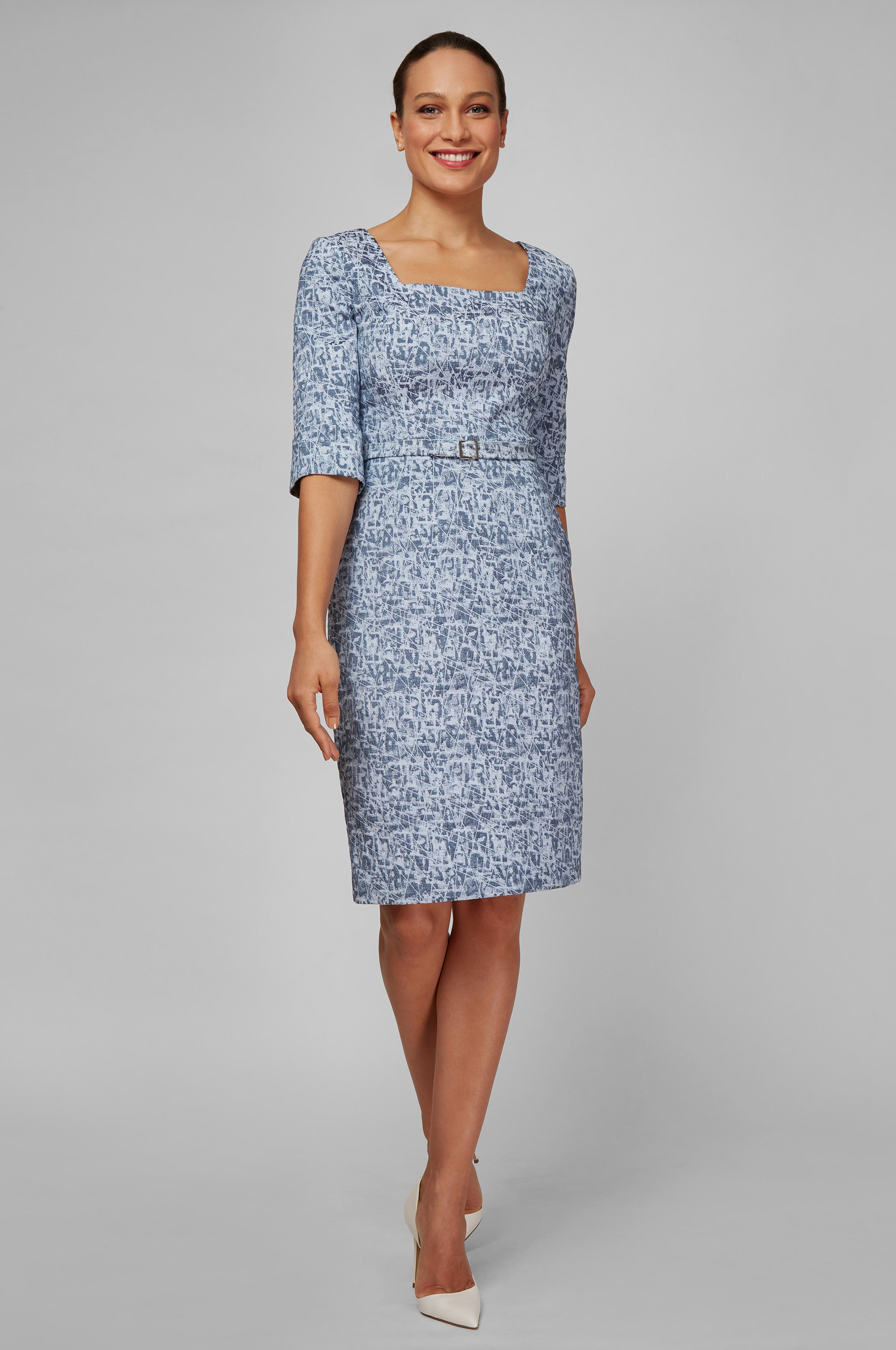 Front Women's Isabelle Dress in Rainstorm Jacquard | Nora Gardner