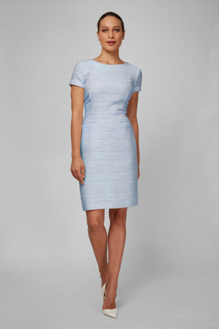 Women's Dinah Dress in Ice Blue Boucle | Nora Gardner - Front