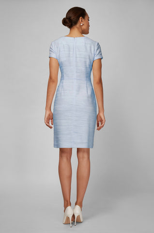 Women's Dinah Dress in Ice Blue Boucle | Nora Gardner - Back