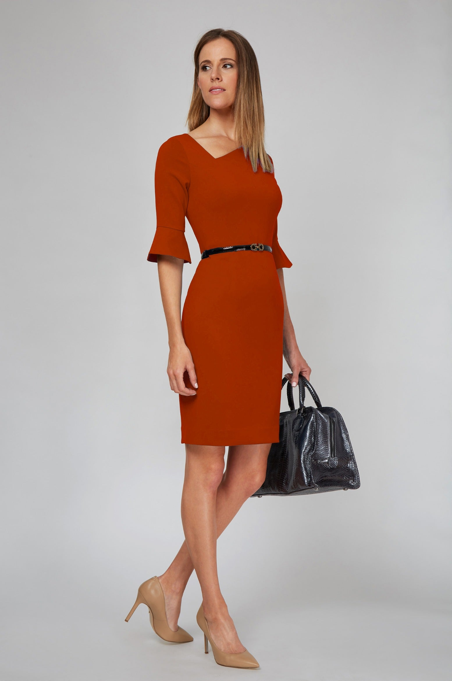 Kate Bell Sleeves Dress - Bright Red