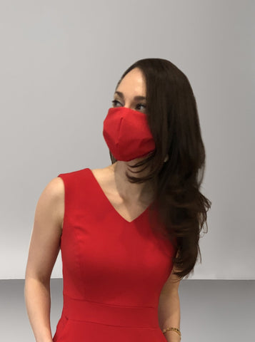 Face Mask - Red with Checks
