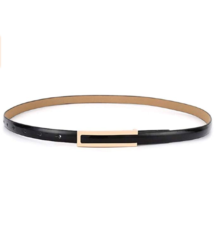 Sleek Buckle Smart Belt - Black Leather