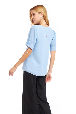 Pleated Short Sleeve Top - Blue Bell