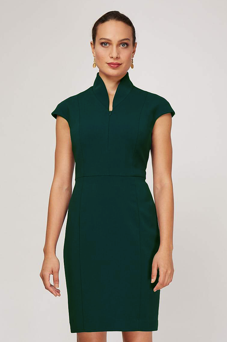 Evelyn Dress - Hunter Green Wool
