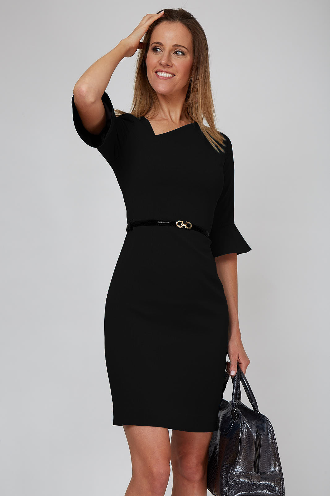 Women's Kate Bell Sleeve Dress in Black | Nora Gardner Front