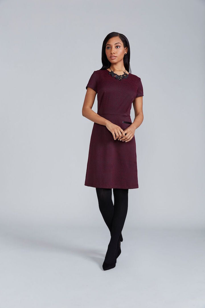 Lilli Dress - Merlot Jacquard