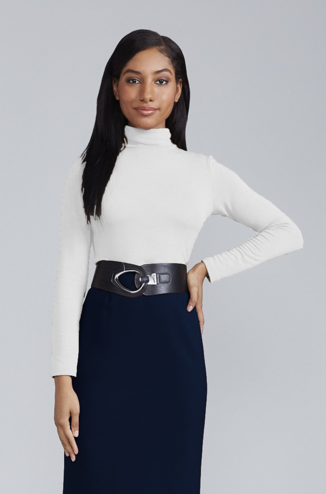 Women's Rosemary Knit Turtleneck in White | Nora Gardner Front