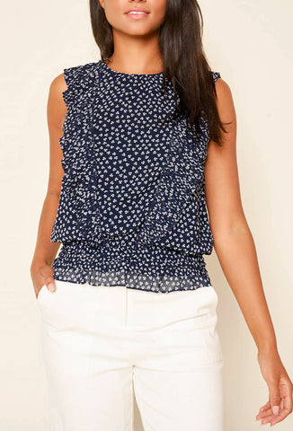 Floral Print Ruffle Top - Navy