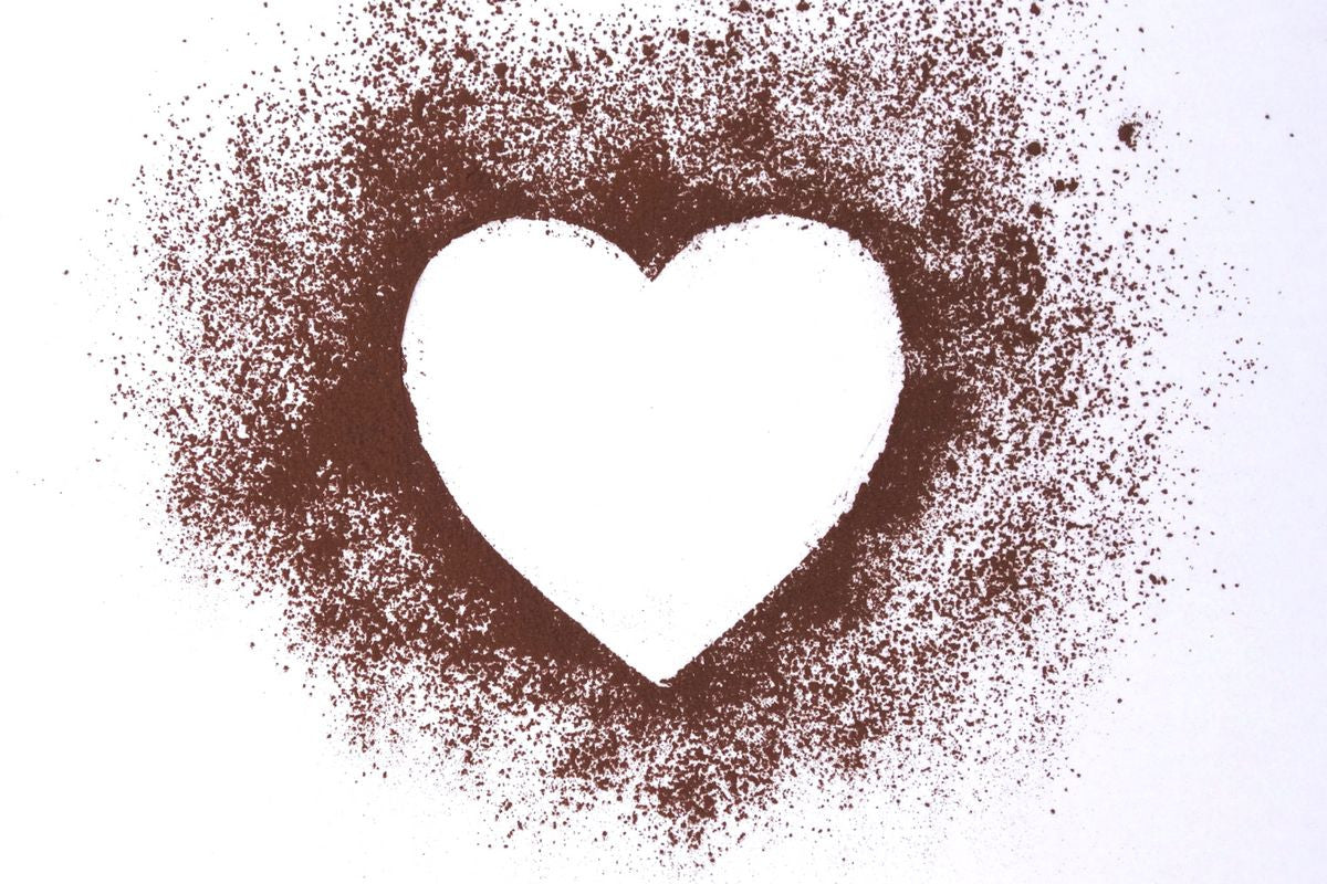 Heart sprinkled around with cocoa powder