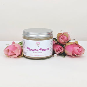 Flower Power body scrub 250ml, exfoliating with geranium, roses | Magical Tree