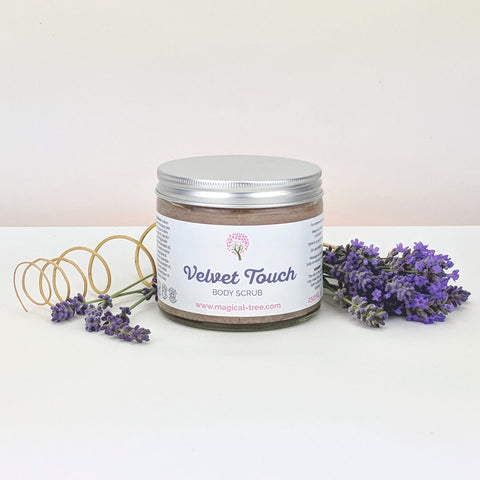 Velvet Touch body scrub 250ml, exfoliating with lavender and chamomile | Magical Tree