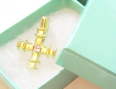 Vintage Small Rhinestone Cross Espo Brushed Gold Plated Necklace Pendant*G685 - Jewel Eureka