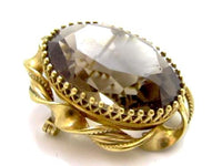 Smokey Quartz Vintage Signed 12K Gold Filled Signed Convertible Pendant Pin*E57 - Jewel Eureka