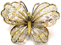 Beautiful 2 Tone Vintage Solid Silver Lacey Filigree Butterfly Brooch Pin*E378 - Jewel Eureka