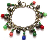Vintage Chased Silver Art Glass Charm Bracelet Likely Old Unsigned Miriam Haskel*478D - Jewel Eureka